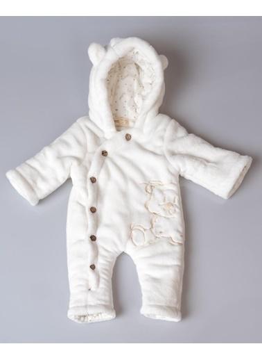 POKY Bebek Ayıcık Işlemeli Düğmeli Coral Soft Elyaflı Uyku Tulumu Yıkanabilir-1426 Beyaz